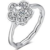 フラワー リング ダンシング キュービックジルコニア 指輪 CZダイヤモンド 結婚指輪  婚約指輪 スターリング シルバー 925 指輪
