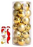 Madrugada 選べる【全11色】 クリスマス オーナメント ボール 24個セット ツリー デコレーション ボール 飾り クリスマス パーティー タトゥーシール 付き2点セット S325 (8cm, ゴールド)