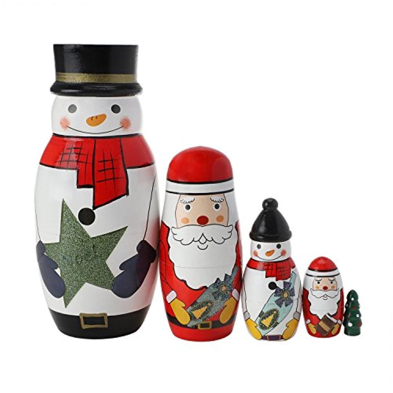 TOPTOMMY クリスマス マトリョーシカ人形 白い雪だるま サンタクロース ロシア人形 ネスト 人気手作り 子供のギフト おもちゃ 5個セット
