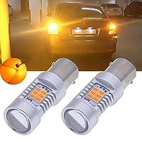 TUINCYN 1157 BAY15D LEDターンシグナル電球琥珀1016 1034 3496 7528 1196 2835 21SMD LEDライトオートテールバックアップブレーキライトランプ(2パック)