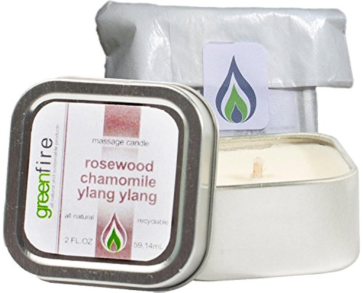リレー悪魔圧倒的グリーンファイヤーマッサージキャンドル ローズウッド?カモミール?イランイランの香り(サイズ:59.1mL)
