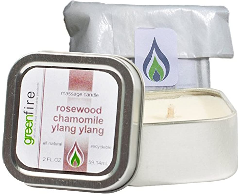 勃起服構造グリーンファイヤーマッサージキャンドル ローズウッド?カモミール?イランイランの香り(サイズ:59.1mL)