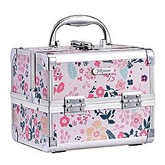 Hapilife コスメボックス 鏡付き スライドトレイ メイク用品収納 プロ仕様 小型 化粧箱(ピンク)