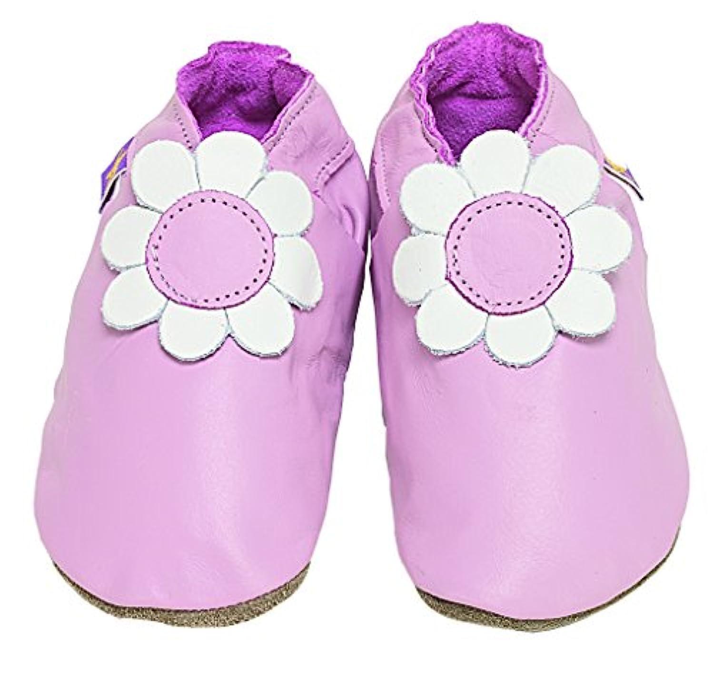【英国製カーフレザーベビーシューズ】《デイジー/ベイビーピンク daisy baby pink》 (S)