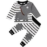 子供 パジャマ ルームウェア ホームウェア 寝巻き ねまき 長袖 上下 セット 男の子 女の子 キッズ ベビー 幼児 用 グレー ストライプ 象 (100cm)