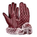 VBIGER PUレザー手袋 レディース 裏起毛 冬 保温 暖かい ファー付 アウトドア タッチパネル グローブ (ワンサイズ, レッド)