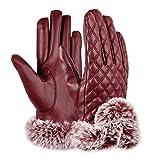 VBIGER スマホ 手袋 レディース レザー手袋 革 裏起毛 冬 保温 暖かい ファー付 アウトドア タッチパネル グローブ(レッド)