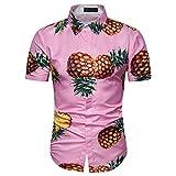 メンズ シャツJopinica 夏半袖3D鳥プリントビーチシャツ ハワイアンスタイル 中国風 欧米風 カラフル レトロ個性派プリント パイナップルプリント ファッション M~3XL