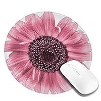 マウスパッド丸型 柔軟 ゴム製裏面 ゲーミングマウスパッド PC ノートパソコン オフィス用 円形 デスクマット 滑り止 ピンクひまわり3