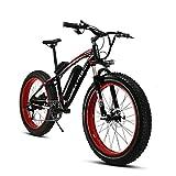 VTSPXF660 電動自転車 マウンテンバイク MTB 26インチ シマノ7段変速  極太タイヤ ファットバイク 焼付け塗装 大雪でも遊べる (赤)
