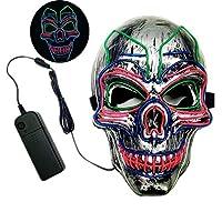 カーニバルLEDマスク、ハロウィーングローイングマスクバーダンスファッションマスカレードパーティーしかめっ面マスク(バッテリーを除く)