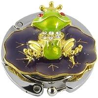 SODIAL(R) パープルグリーンかわいいカエル折りたたみハンドバッグフックホルダーレディ用品