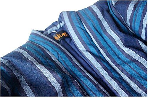 (ジ-ライク) G-like 男性 女性 カップル 厚い 暖かい 中綿 和服 綿入れ 作業着 半纏 (ブルー)