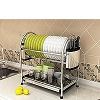 多目的収納ラック 食器ラックステンレス製のキッチンシェルフ収納棚食器棚排水ホーム用品入れボウルトレイリークラック2Tire キッチンバスルーム用 (Edition : D, Size : 55.5*28*45.2CM)