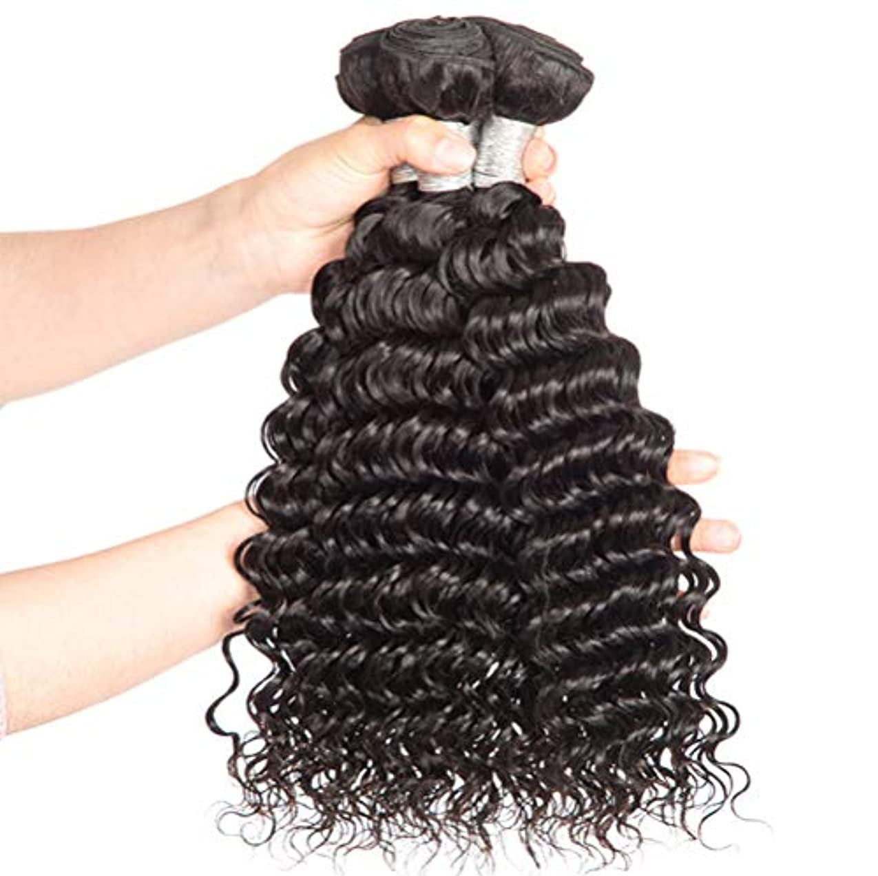 害虫指令骨女性150%密度髪織り未処理のブラジルの深い巻き毛の束本物の人間の髪の束バージンブラジルの髪の束