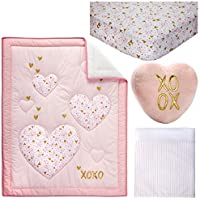 Little Love by NoJo She's So Lovely Heart 4 Piece Crib Bedding Set, Pink/Metallic Gold [並行輸入品]