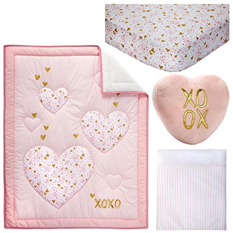 Little Love by NoJo She's So Lovely Heart 4 Piece Crib Bedding Set, Pink/Metallic Gold [並行輸入品]