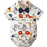 Urmagicロンパース 夏 赤ちゃん服 男の子 半袖 漫画 動物柄 恐竜 ファッション 蝶ネクタイ装飾 結婚式服 フォーマル