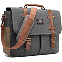 Mens Messenger Bag, 15.6 Inch Laptop Shoulder Bag Canvas Genuine Leather Business Briefcase Large Vintage Satchel College Bookbag Retro Brown Leather Handbag Crossbody Bag for Men, Gray