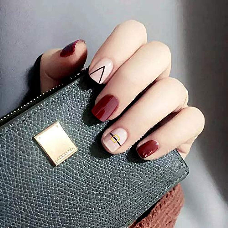 デマンド飾るカッターXUTXZKA 24個のパターンの偽の爪の短い楕円形のワインレッドの終了する釘の先端