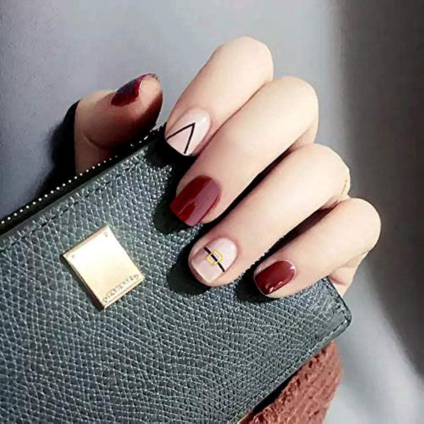 咳サーキュレーションテクスチャーXUTXZKA 24個のパターン偽の爪短い楕円形のワインレッド仕上げネイルチップ