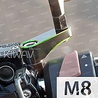 KiWAV バイクミラー オフセットホルダー ミラーホルダー ミラーライザー 45mm 緑 M8ボルトに適用 一対