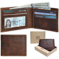 Genuine COW VINTAGE Leather RFID Blocking Handmade Bifold Wallet for Men 4 Credit card+1 ID Window+2 Note Compartment Minimalist Front Pocket Wallet- 100% Full Grain Cow Leather by LEVOGUE