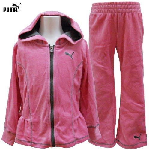 PUMA プーマ キッズ ジュニア ベロア ジップアップ ジャケット ジャージ 上下セット 110cm