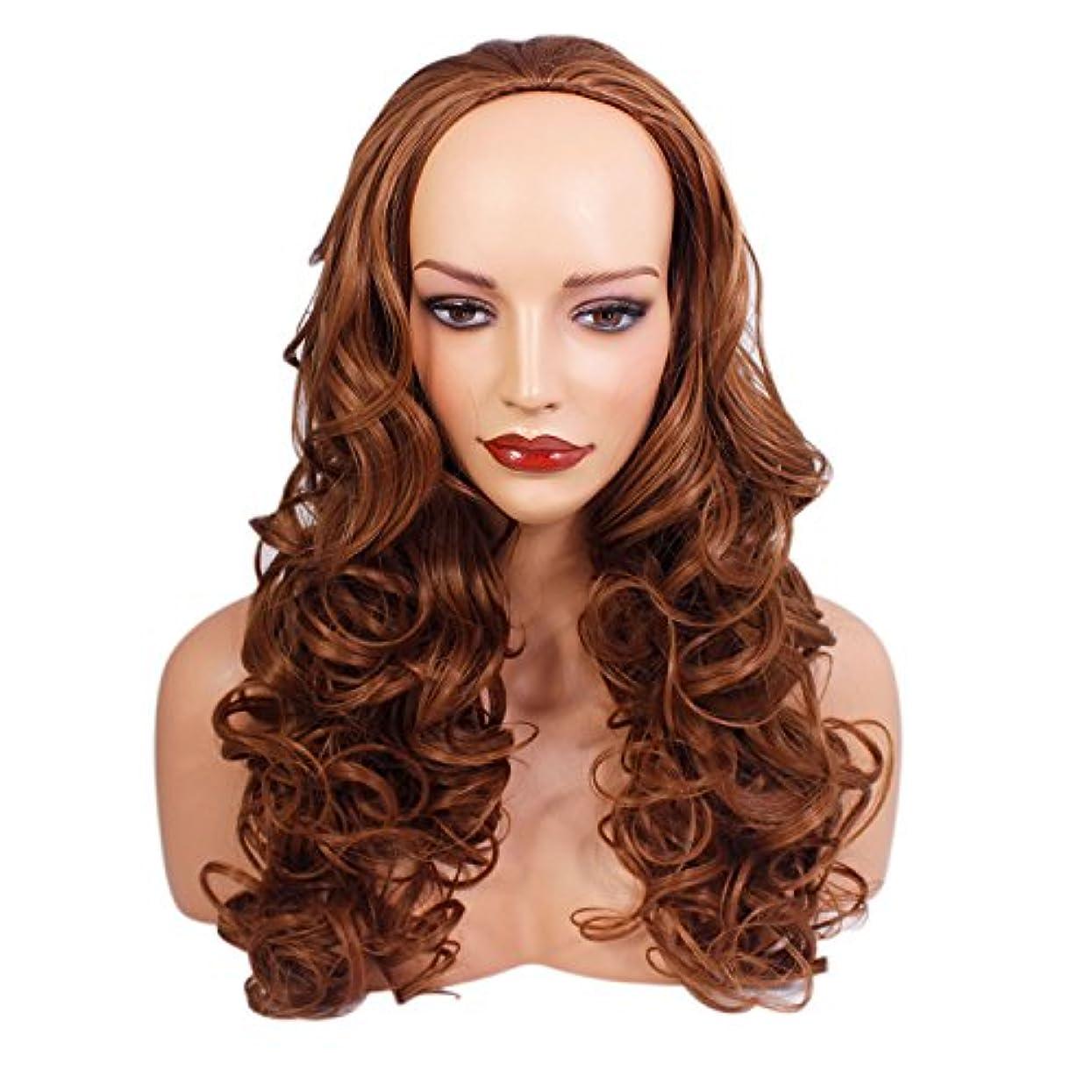 昼寝虚栄心ちっちゃいレディース3/4ハーフウィッグ - チェスナッツブラウン - カーリースタイル - 22インチ - 250g - 耐熱性合成繊維 - ヘアピースエクステンションのクリップ - ルックスとエレガントによる本物の髪のような雰囲気