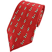 Mens Candy Print Pattern Holiday Christmas Neckties Tie Woven Neck Tie (Red)
