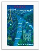 パリ - セーヌ川、エッフェル塔、ノートルダム - エアフランス - ビンテージな航空会社のポスター によって作成された ベルナール・ヴィユモ c.1963 - キャンバスアート - 51cm x 66cm キャンバスアート(ロール)