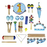 Homyl 22ピース幼児子供パーカッション楽器玩具セット早期学習 - ブルー