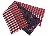 長尺ロングリバーシブル小袋半巾帯赤色地ライン&墨グレー地音符猫 浴衣&袴に