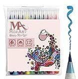 筆ペンセット 12色 柔らかくしなやかな天然素材の筆先 高品質 大人向け塗り絵・漫画・コミック・カリグラフィーなどの水彩画エフェクトをつけられる 二通りの濃淡 MozArt Supplies