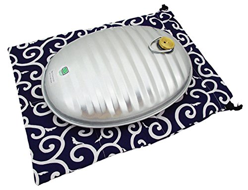 湯たんぽA(エース)2.5L 和柄袋付 紺 23415