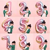St. Lun 32-inch Pink Gradient Aluminum Film Digital Balloon Birthday Holiday Party Decoration 0-9,Size:Number 9 (Size : Numbe
