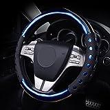 GOOACC オシャレ 高級感 ハンドルカバー ステアリング 自動車 に 簡単に取付 ハンドルカバー Mサイズ(37-38CM) (ブルー)