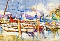 Caroline's Treasures JMK1049PLMT End Stall Sailboats Fabric Placemat, Multicolor