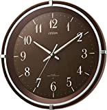 CITIZEN ( シチズン ) 電波 掛け時計 エフライトM492 針が 光る 暗所 自動 点灯 連続秒針 木 茶 8MY492-006