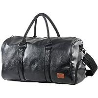 Mioy Vintage Waterproof Travel Tote Luggage Bag Leather Large Capacity Men's Weekender Duffel Bag