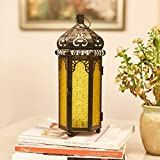 Ninganju Yellow Glasses Moroccan Style Candle Lantern Decorative for Patio, Indoors/Outdoors, Events, Parties and Weddings (1