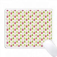 かわいいピンクとグリーンのクリスマスツリーパターン PC Mouse Pad パソコン マウスパッド