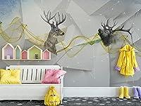 Mbwlkj 広くモダンな壁紙 3Dカスタム背景の壁紙北欧抽象シカ動物壁紙の子供の部屋のリビングローンベッドルーム写真-150Cmx100Cm