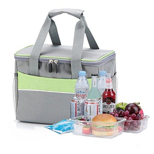 Kuanguang ランチバッグ 保冷 保温バッグ お弁当かばん 11L 大容量 通学/通勤/ピクニックに適用 (グレー)