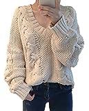 (スペース) spes ニット ザックリ ユッタリ ケーブル 編み 長 袖 セーター V ネック ユル フリー サイズ ローゲージ ベージュ beige 肌色 はだ色