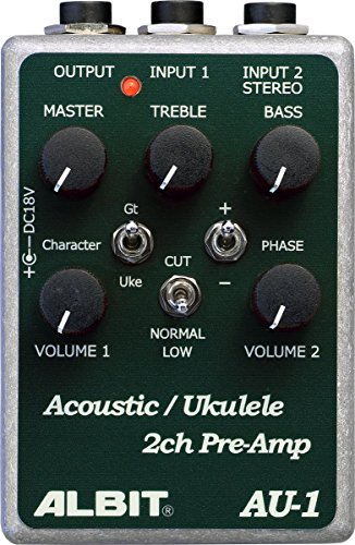 ALBIT 2チャンネル アコースティック楽器用プリアンプ Acoustic Ukulele PRE-AMP AU-1