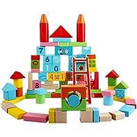Fenteer 約100pc 木のおもちゃ 積み木 木製 ビルディングブロック ソートパズル 子供 建設おもちゃ レンガ 創造的なセット
