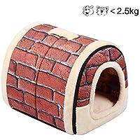 ペットソファ ペット猫の犬のベッドと家、高品質の屋内ポータブル 犬の部屋/猫のベッド。 あなたのペットのために暖かい家を用意してください。 (S, RED)