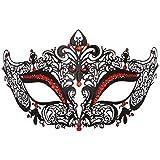 ダンスマスク 高級金属鉄マスク女性美少女中空ハーフフェイスファッションナイトクラブパーティー仮面舞踏会マスク ホリデーパーティー用品 (色 : 白, サイズ : 19x8cm)