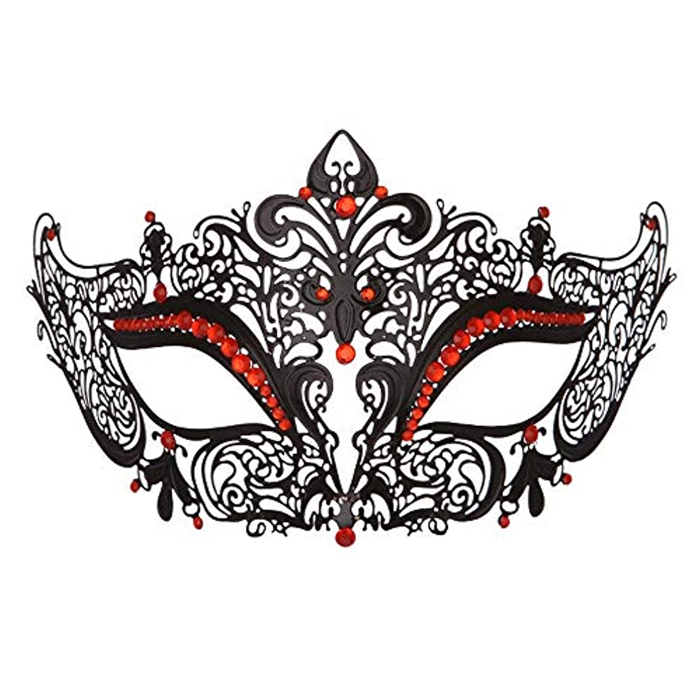ダンスマスク 高級金属鉄マスク女性美少女中空ハーフフェイスファッションナイトクラブパーティー仮面舞踏会マスク ホリデーパーティー用品 (色 : 赤, サイズ : 19x8cm)